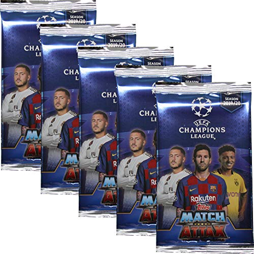 Topps Champions League 2019/20 - Trading Cards - 5 Booster - Deutsch