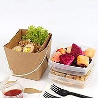 クラフト紙のお弁当箱使い捨て可能なプラスチックフードランチボウル - ふたコンパートメント食事準備容器で再利用可能 (Color : 2PACK)