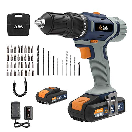BLUE RIDGE Cordless Hammer Drill 20V Max with 2 x 1.5 Ah Li-ion Battery BR2808K2, 42N.m Combi Drill with 1hr Fast Charger, 13mm Keyless Chuck, Variable Speed,43pcs Free Accessories, Carry Case