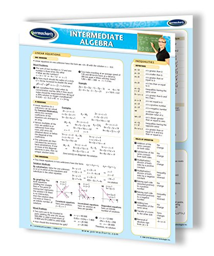 Intermediate Algebra Guide - Math Quick Reference Guide by Permacharts
