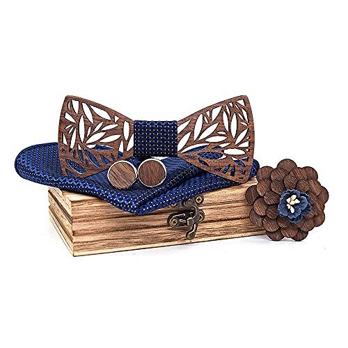 Lumierechat 蝶ネクタイ 木製 メンズ 男性 結婚式 パーティー カフスボタン チーフ セット プレゼント ギフト a-b1478