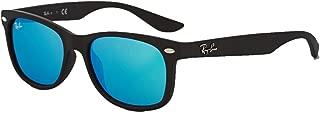 RB2132 New Wayfarer Sunglasses Unisex (Matte Black Frame Blue Mirror Lens, 55 mm)