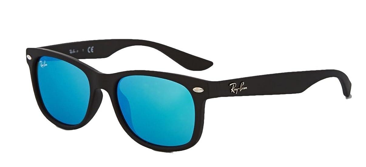 Ray-Ban RB2132 New Wayfarer Sunglasses Unisex (Matte Black Frame Blue Mirror Lens, 55 mm)