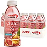 Premier Protein Clear Drink, Tropical Punch, 20g Protein, 0g Sugar, 1g Carb, 90 calories, Keto Friendly, Gluten Free, No Soy Ingredients 16.9 fl oz, 12 Pack