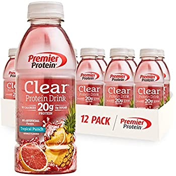 Premier Protein Clear Drink Tropical Punch 20g Protein 0g Sugar 1g Carb 90 calories Keto Friendly Gluten Free No Soy Ingredients 16.9 fl oz 12 Pack