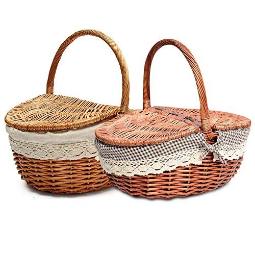 Picknickkorb, Korbweide Picknickkorb mit Deckel und Henkel naturweide gewebter Korbkorb Korb - klein