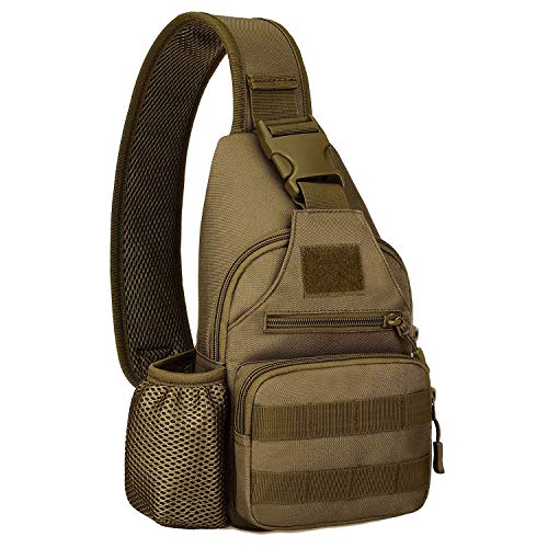 Huntvp Small Tactical Sling Chest Pack Bag Molle Daypack Backpack Military Crossbody(Type2-Coyote Brown)