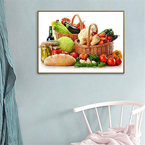GJQFJBS Cuisine Décoration Fruits Toile Murale Rétro Panier de Légumes Tomate Affiche Alimentaire Image Restaurant Art A2 60x80 cm