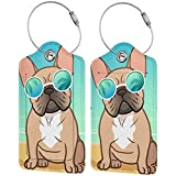 Cute French Bull Dog Luggage Tags Set of 2 Leather Stainless Steel Loop Label Tag for Travel Bag Suitcase