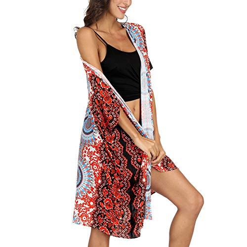 zz Blusa Larga De Playa con Estampado Nacional De Mandala De Viento. Cardigan Protector Solar Parte Superior del Chal Chal Playa Top Kimono Una Talla,B