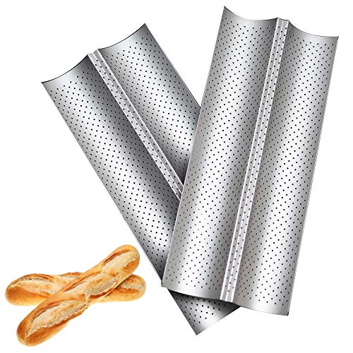Baguette Pan, Nonstick 2-Wave French Bread Pan Set of 2, Carbon Steel 15x6.3 Inch Baguette Mold for Baking Delicious Baguette, French Bread, Baguette Bread, Silvery