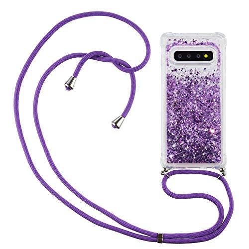 HülleLover Handykette Handyhülle für Samsung Galaxy S10 Plus, Glitzer Flüssig Bewegende Treibsand Transparent Silikon Hülle mit Kordel zum Umhängen Necklace Phone Hülle Band für Samsung S10+, Lila