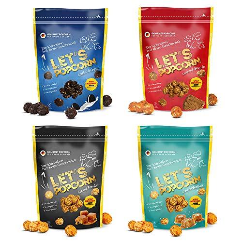 Let's Popcorn - Starter-Paket: 1x je Cookies & Cream, Caramel Biscuit, Caramel Premium, Caramel SeaSalt - 4er Party Pack (2 x 100g + 2 x 80g) - Gourmet Popcorn für wahre Genießer, Weltneuheit
