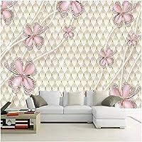 Xbwy 装飾壁画壁紙壁画ジュエリーピンクフラワーモダンアートリビングルームテレビ背景壁画-400X280Cm