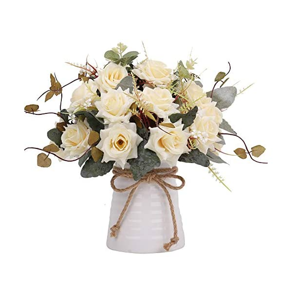 YILIYAJIA Artificial Rose Bouquets with Ceramics Vase Fake Silk Rose Flowers Decoration for Table Home Office Wedding