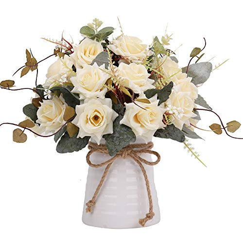 YILIYAJIA Artificial Flowers in Vase Silk Rose Flower Arrangements Fake Faux Flowers Bouquets with Ceramics Vase Table Centerpieces for Dinning Room Table Kitchen Decoration (Champagne)