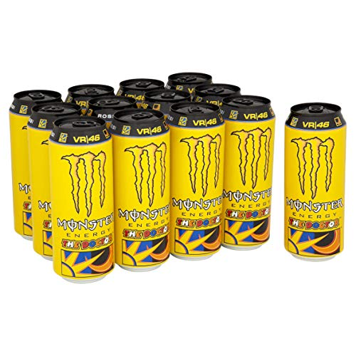 Monster Energy The Doctor Energy Drink, Valentino Rossi Special Edition mit prickelndem Zitrusgeschmack, Dosen-Palette, EINWEG (12 x 500ml)