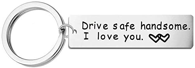 LGEGE Keychain Drive Safe Handsome I Love You Keychain for Boyfriend Husband Dad Trucker Gifts