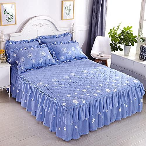 CYYyang Protector de colchón, algodón, poliéster, Hoja de Cama de Encaje de Falda de Cama engrosada-34_150 * 200cm