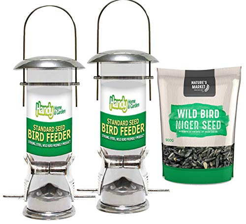 2 x Handy Home and Garden Deluxe Wild Bird Seed Feeders with 0.9KG bag of Niger Seed Feed