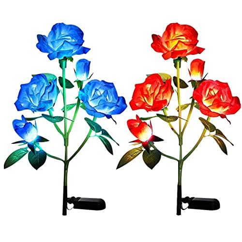 OMMO LEBEINDR Rose solares, Luces de estaca 2 Piezas de jardín de Flores, césped al Aire Libre lámpara Decorativa, Arte Decorativo de la lámpara LED con 5 Jefes (Azul Rojo)