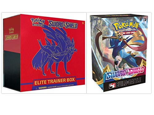 Pokémon TCG Sun & Moon Sword & Shield Zacian Elite Trainer Box + Build and Battle Box Prerelease Kit Pokémon Trading Card Game Bundle, 1 of Each image