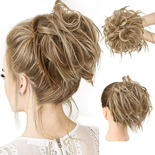 HMD Messy Bun Hair Piece Hair With Elastic Rubber Band Extensions Hairpiece Synthetic Hair Extensions Scrunchies Hairpiece for Women (Tousled Updo Bun, 12H24(Light Brown mix Natural Blonde)