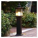 Luz de poste Columna E27 café oro antiguo de aluminio ligero Die Casting valla exterior del montante de la linterna IP55 a prueba de agua del jardín de cristal del anuncio Linterna Mesa de luz Comunid