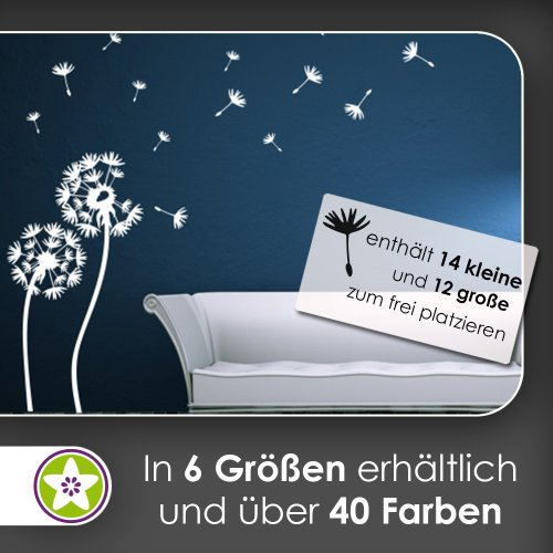 Kiwistar Pusteblume Set III Wandtattoo in 6 Größen - Wandaufkleber Wall Sticker