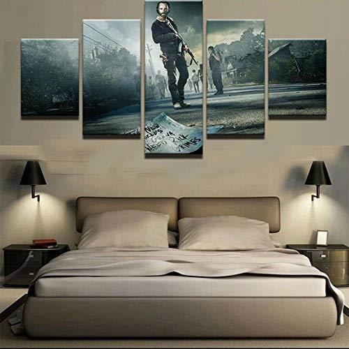 MMSY Póster de la pared del arte de la pintura de la decoración del hogar sala de estar 5 panel de la serie de TV modular HD impresión lienzo cuadros sin marco
