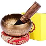 Cuenco Tibetano a Mano con 7 metales Incluye un Cojín y la Baqueta para la Relajación, Sanación, Meditación, Regalo Espiritual (8CM)