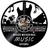 Reloj de Pared con Disco de Vinilo, Reloj de Pared Vintage, el Texto no hablará de la decoración de la música, Guitarra y Tambor de Rock