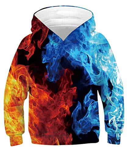 TUONROAD Teens Hoodies Hip Pop Hoody 3D Kapuzenpullover Neuheit Freizeit Pullover Sweatshirt S