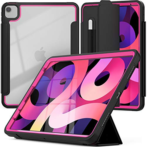 SEYMCY iPad 10.9 Case iPad Air 4th Generation Case iPad Air 4 Case with Pencil Holder, Rugged Protection Sturdy Shockproof Case [Auto Sleep/Wake]Screen Protector for iPad Pro 11'' 2020/2018,Black/Rose