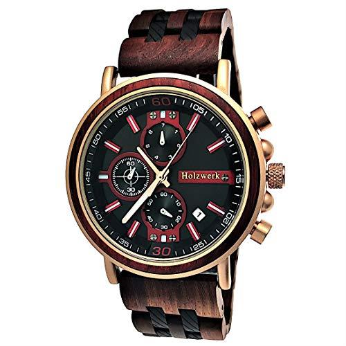 Reloj de diseño hecho a mano de Holzwerk Germany, para hombre, de madera natural, cronógrafo, analógico, de cuarzo, color marrón, rosa, dorado, con fecha, esfera de madera