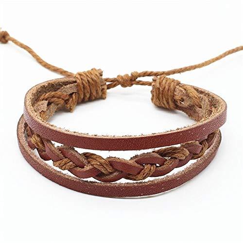 LANGMAN Schmuck Armband Mehrschichtiges handgewebtes Lederarmband für Herren und Damen