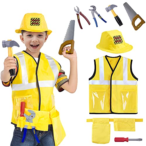 iPlay, iLearn Kids Construction Worker Costume, Boys Halloween Dress Up Clothes, Toddler Builder Outfit Kit, Career Role Play Toy Set W/ Tools, Vest, Hat, Birthday Gift for 3 4 5 6 Year Old Child