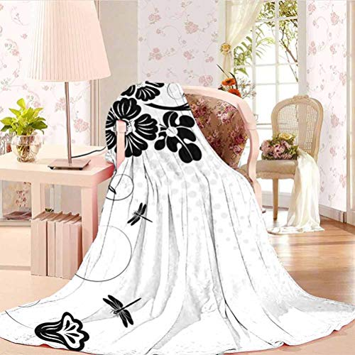 Dragonfly Personalized Blanket Perfect for Gifts Floral Ornament with Fern Plants Leaves Nature Elegance Stylized Illustration Black White 70' W x 84' L