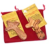 Two Olive wood Comfort Crosses with Velvet bags & Lord's Prayer card - The Holding or Hand Cross ( 4 inches ) - Large