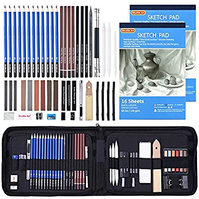 Drawing Pencils Set,52 Pack Professional Sketch Pencil Set in Zipper Carry Case,Art Supplies Drawing Set with Graphite Charcoal Sticks Tool Sketch Book for Adults Kids Drawing Sketching by Shuttle Art