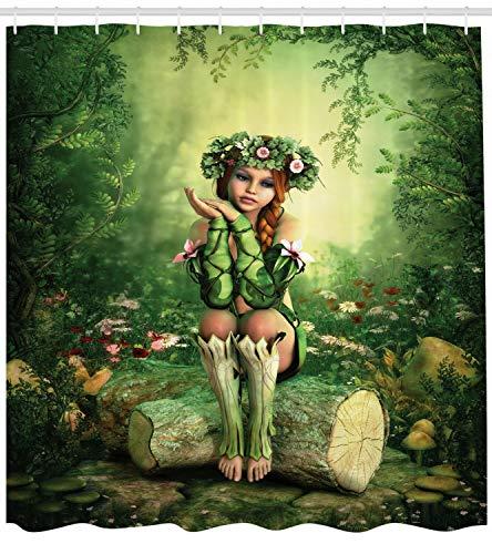 gwregdfbcv Cortina de Ducha de Hadas Elf Girl with Wreath Tree Print para baño Cortina de...