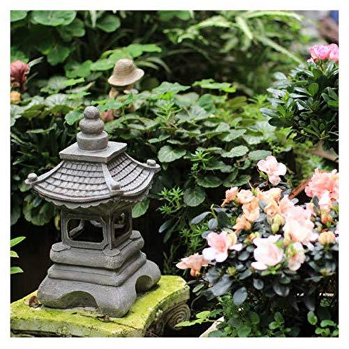 Uziqueif Outdoor Garden Sculpture Pagoda Garden Decorative Lighthouse Garden Sculptures and Statues, Asian Decoration Lantern Outdoor Pagoda Statue, Japanese style lantern,17 * 34cm