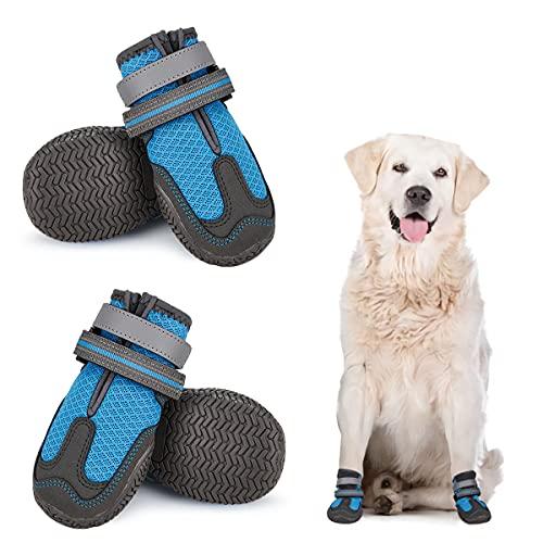 Chaussures de Chien en Maille Respirante, Bottes Protection Chien 4Pcs, Chaussures d'été pour chien Antidérapantes avec Boucle Sangles Réfléchissantes Inusable pour Chiens Moyens Grands Bleu 8#