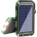 Solar Charger 20000mAh, YELOMIN Portable Charger Outdoor Solar Power Bank, Camping Travel External Backup Battery Pack Built-in Dual USB 5V Outputs/Flashlights and Compass (Green)