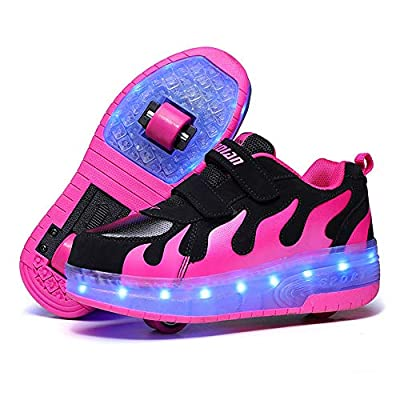 AIkuass USB Chargable LED Light Up Fashion Flashing Sneaker Shoes for Boys Girls Kids Black/Red