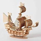 Puzzle de corte por láser de bricolaje Barco de vela 3D juguetes rompecabezas de madera de montaje de maquetas kits de artesanía de madera de juguete de escritorio Decoración for niños de los niños El