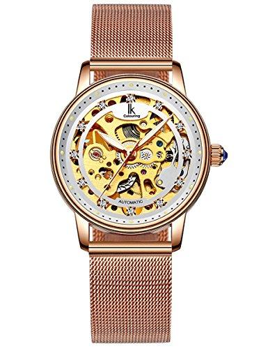 Alienwork Damen mechanische Automatik-Uhr Rose-Gold mit Metall Mesh Armband Edelstahl Weiss Skelett