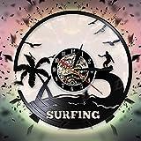 7 Colores al Aire Libre Deporte acuático horario de Verano Surf Reloj de Pareddiseño Windsurf Vinilo Registro Reloj de Pared Regalo para Amantes del Surf
