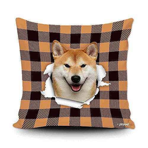 Funda de almohada a cuadros de búfalo naranja y negro con My Love Dog Shiba Inu decoración del hogar, funda de cojín divertida para sofá, dormitorio, 50,8 x 50,8 cm, impresión de doble cara