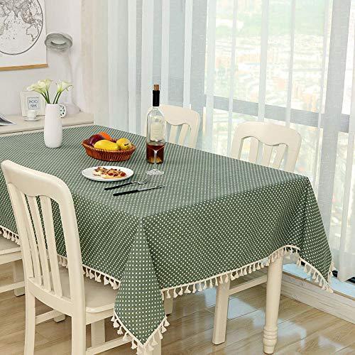 YUQIBXC - Mantel de mesa con borde de borla, lavable, rectangular, lavable, 140 x 220 cm, a prueba de polvo, mantel de cocina para mesa de comedor, Verde, 120×160cm